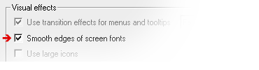 Activate 'Smooth edges of screen fonts': Windows 2000